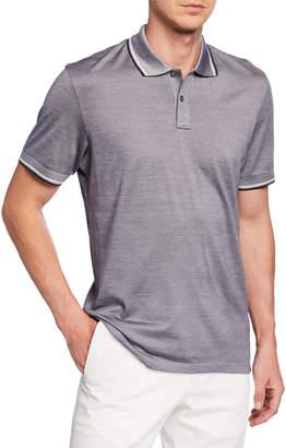 Ermenegildo Zegna Men's Jersey Polo Shirt with Double Striped Collar