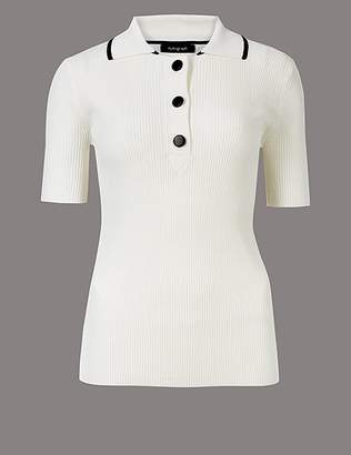 Marks and Spencer Textured Collared Neck Short Sleeve Jumper
