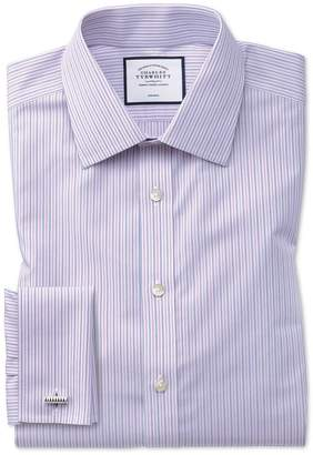 Charles Tyrwhitt Classic Fit Non-Iron Lilac and Blue Multi Stripe Cotton Dress Shirt French Cuff Size 15.5/32