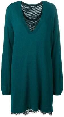 Twin-Set lace insert sweater dress
