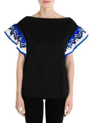 Emilio Pucci Flutter Sleeve Cotton Top