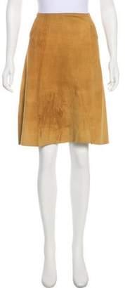 DKNY Suede Knee-Length Skirt