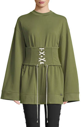 FENTY PUMA by Rihanna Corseted Crewneck Sweatshirt, Olive