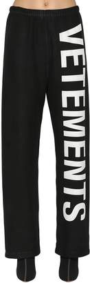 Vetements Logo Printed Cotton Sweatpants