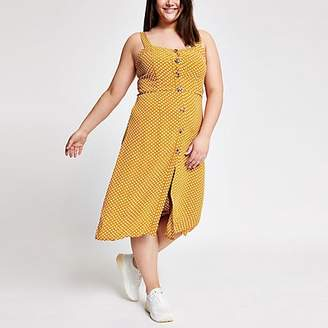 River Island Plus yellow spot print button front dress