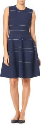 Carolina Herrera Sleeveless Mini-Striped Knee-Length Knit Dress