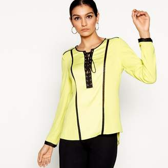Star by Julien Macdonald Bright Yellow Long Sleeve Eyelet Top