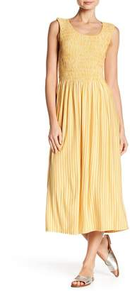 Max Studio Striped Smock Bodice Midi Dress
