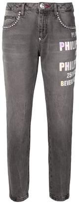 Philipp Plein printed cropped jeans