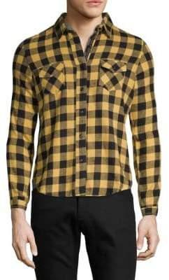 Studded Collar Check Sport Shirt