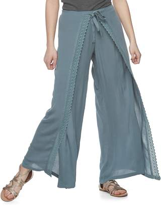 Vanilla Star Juniors' Crochet Soft Wide-Leg Pants