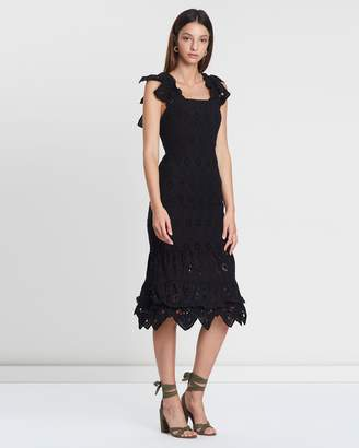 Shona Joy Embroidered Cocktail Midi Dress