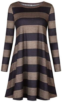 Cozy Age Womens Casual Loose Striped Long Sleeved Sweater Dress Fall Tunic For Leggings(XL, )