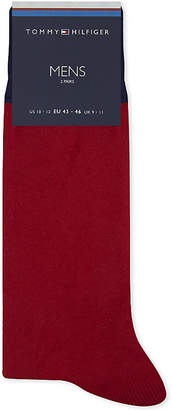 Tommy Hilfiger Mens Navy/Red/Grey Icon Cotton-Blend Socks 2-Pack