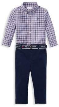 Ralph Lauren Boy's Three-Piece Plaid Poplin Shirt, Stretch Chinos& Belt Set