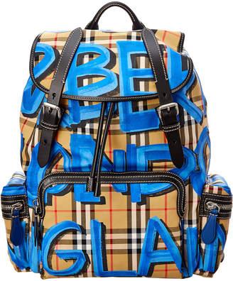 Burberry Graffiti Logo Print Vintage Check Backpack