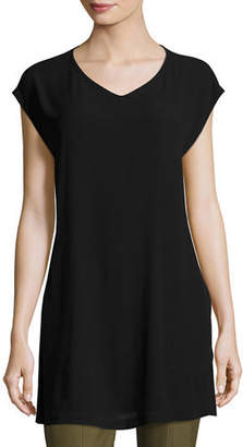 Eileen Fisher V-Neck Silk Georgette Crepe Tunic w/ Pockets, Plus Size