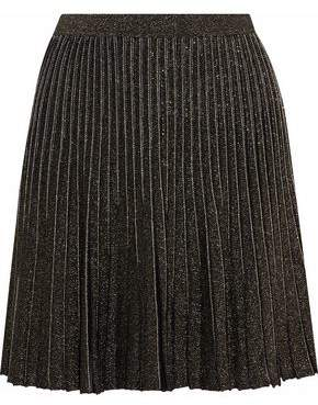 Roberto Cavalli Pleated Metallic Stretch-Knit Mini Skirt