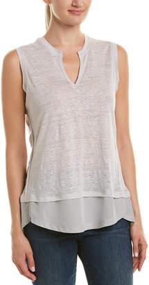 Acrobat Combo Linen & Silk-Blend Top