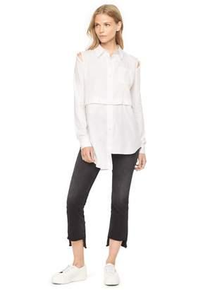 Milly Herringbone Shirting Fractured Shirt