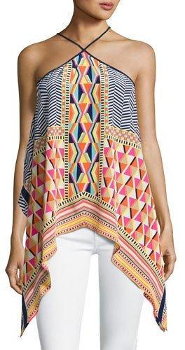 Trina Turk Tully Sleeveless Geometric Silk Blouse, Multicolor