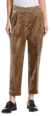 Brunello Cucinelli Crushed Velvet Pleated Pants