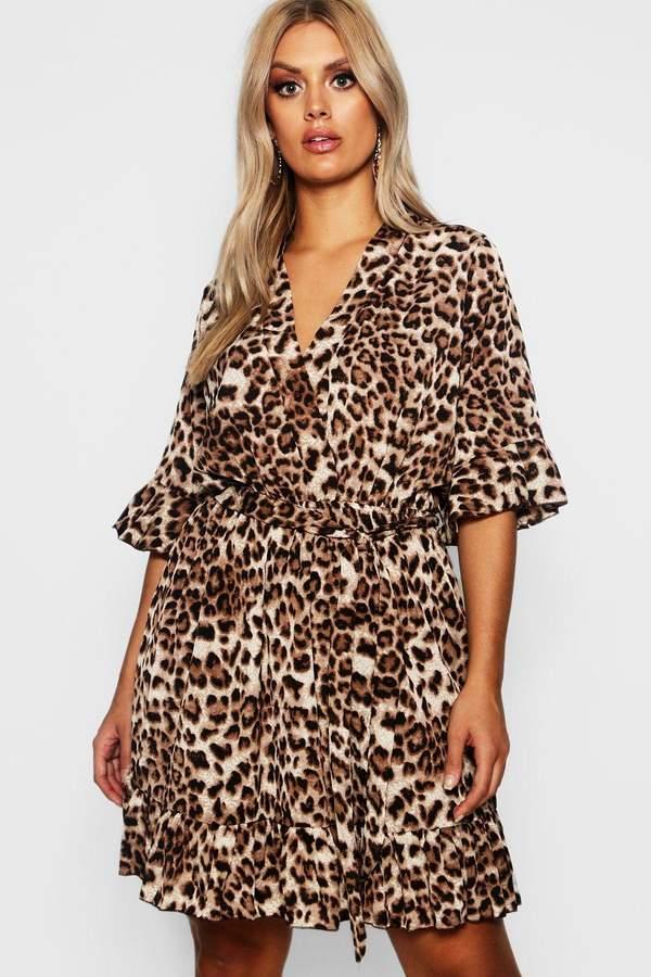 Plus Leopard Print Ruffle Hem Skater Dress