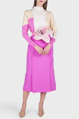 DELPOZO Straight Midi Skirt with Slits