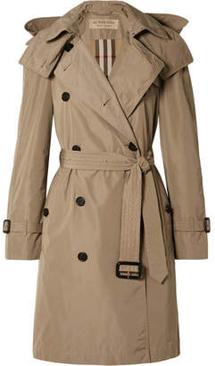 Burberry The Amberford Hooded Shell Trench Coat - Mushroom