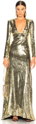 Dundas Open Back Sequin Gown in Gold | FWRD