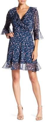 Lucy Paris Anna 3/4 Sleeve Ruffle Wrap Dress