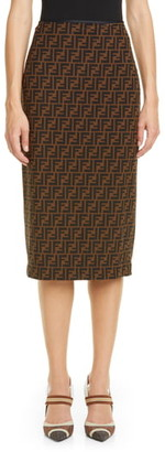Fendi FF Logo Pencil Skirt