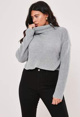 Missguided Plus Size Grey Roll Neck Knitted Cropped Jumper