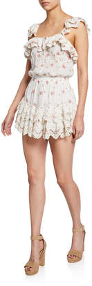 LoveShackFancy Marina Embroidered Ruffle Short Dress