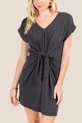 francesca's Klara Knot Front Space Dye Knit Dress - Black