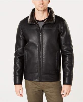 Kenneth Cole Men Faux-Fur-Trim Faux-Leather Jacket
