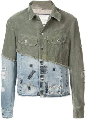Greg Lauren denim-panelled jacket