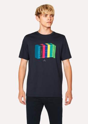 Paul Smith Men's Navy '3D Football Pitch' Print T-Shirt