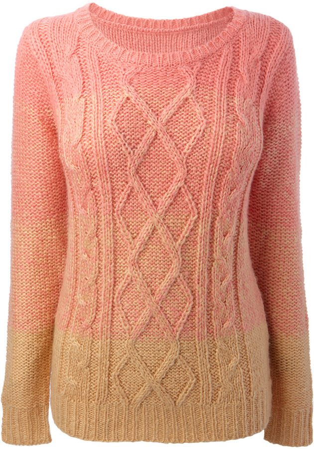 Coral Long Sleeve Ombre Cable Jumper
