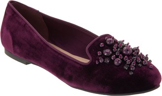 Isaac Mizrahi Live! Velvet Loafers with Ornament Detail