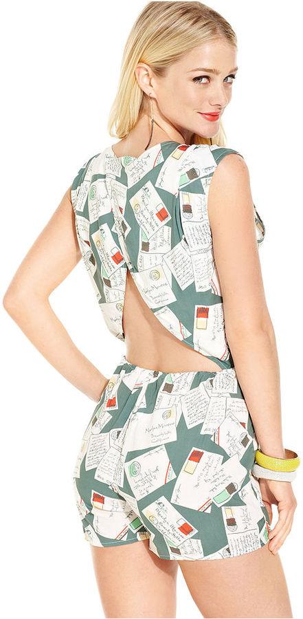 Monroe Marilyn Juniors Shorts, Cap Sleeve Printed Romper