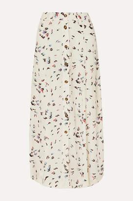 Ganni Floral-print Crepe Maxi Skirt - White