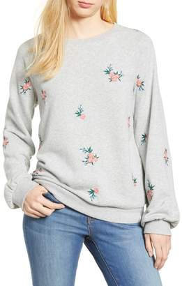 Caslon Embroidered Sweatshirt (Regular & Petite)