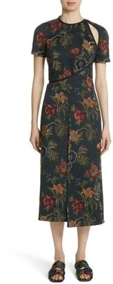 Rosetta Getty Floral Satin Jacquard Dress