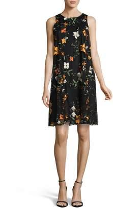 ECI Embroidered Chiffon Shift Dress