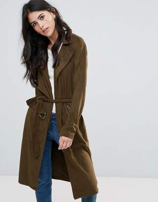 Only Jennifer Faux Suede Long Trench Coat $64 thestylecure.com
