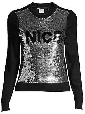Alice + Olivia Women's Chia Naughty& Nice Metallic Sequin Sweater