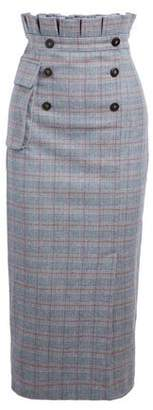 Stella Jean Button-Detailed Checked Brushed Wool-Blend Midi Skirt