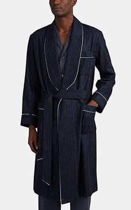 Barneys New York Men's Striped Wool Robe - Navy