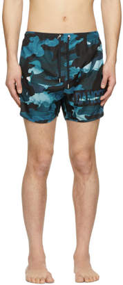 Neil Barrett Blue Camo Danger Swim Shorts